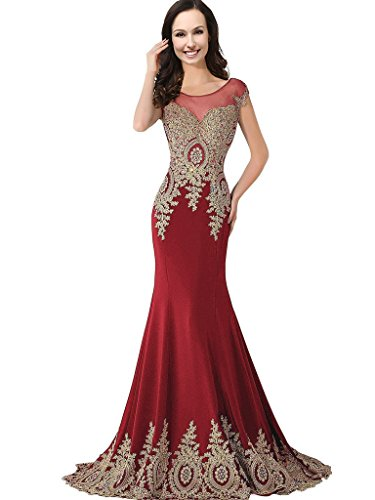 Sheer Bateau Long Mermaid Gold Lace Beaded Crystals Prom Evening Dresses Plus Size Wine Red US 16W