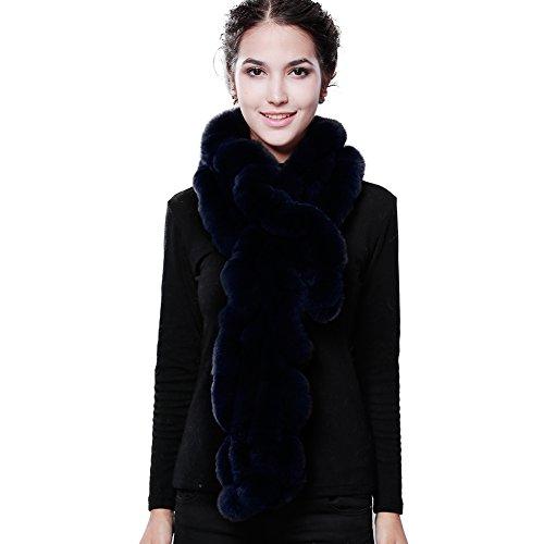 Knitted Fur Scarf (Women Winter Real Fur Scarf - Rex Rabbit Warm Long Flower Brim Scarves Designed By FURTALK)
