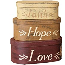 Your Heart's Delight Faith, Hope, Love Oblong Nesting Boxes, 11 by 10 by 5-1/2-Inch, Set of 3