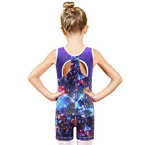 Price comparison product image BAOHULU Toddler Girls Leotards for Gymnastics Sparkle Colorful Painted Tank Biketards 4-11Y B169_Galaxy_120