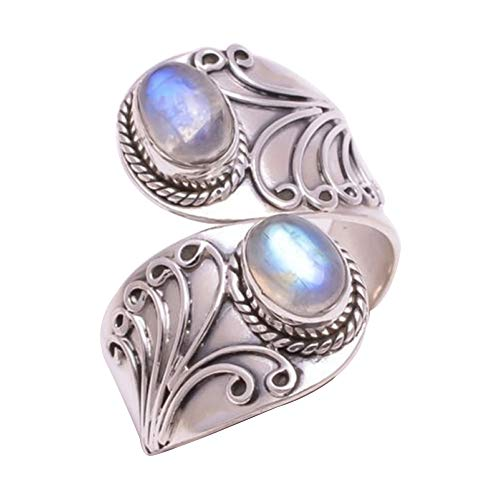 CHoppyWAVE Ring Vintage Carving Faux Turquoise Open Finger Ring Women Charm Banquet Jewelry - Silver US - Faux Onyx Oval