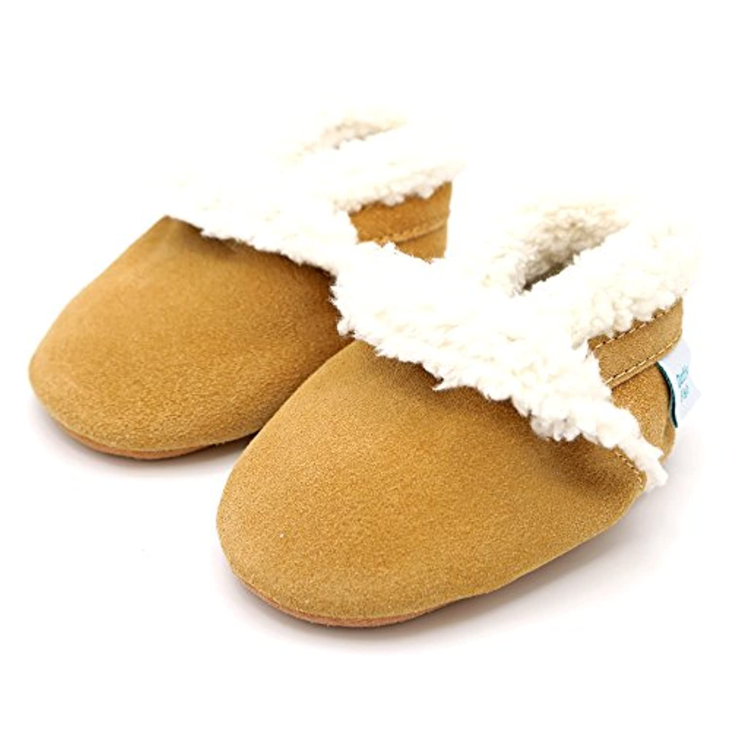 Soft suede baby slippers for boys or girls by Dotty Fish with Suede Soles. Tan - 0-6 months
