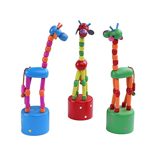 (Berry President(TM Set Of 3: Wooden Cute Colorful Giraffe Push Puppets,Swing Dancing Body Giraffe Desktop Toys Cartoon Fingers Toys Home Kids Room TV Cabinet Decoration)