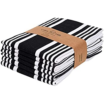 Urban Villa Kitchen Towels,Trendy Stripes, 100% Cotton Dish Towels Mitered Corners, (Size: 20X30 Inch), Black/White Highly Absorbent Bar Towels & Tea Towels - (Set of 6)