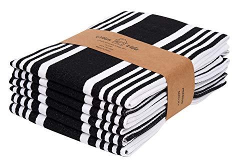 Urban Villa Kitchen Towels,Trendy Stripes, 100% Cotton Dish Towels Mitered Corners, (Size: 20X30 Inch), Black/White…
