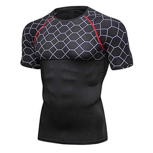 Realdo mens Mens Mesh T-Shirts, Sport Fitness Short Sleeve Rashguard T-Shirt Tight-Drying Tops Wine ()