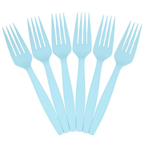 JAM PAPER Big Party Pack of Premium Plastic Forks - Aqua/Light Blue - 100 Disposable Forks/Box