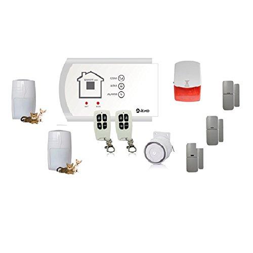 Jeiko Alarmsystem für Haus kabellos mit integriertem GSM, 2Sensoren Bewegungsmelder Freunde der Tiere, 3Sensoren porta-finestra, 2Fernbedienungen 1Sirene Plug & Play und 1Innensirene–gebrauchsfertig