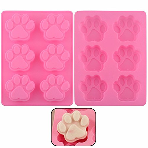 6 Cavity Dog Paw Non-Stick Food Grade Silicone Cake Pan Baking Mold (Flexible Silicone Fluted Tube Pan)