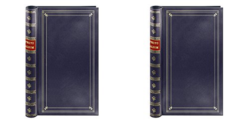 Pioneer Photo Albums Bi Directional 2-UP 300 Photo Album (4X6 Navy Blue 2 PACK) Tooled Faux Leather