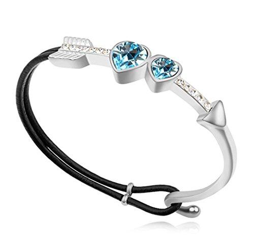- Sojewe Women Charm Cupid Heart Leather Bracelet Blue Swarovski Elements Crystal White Gold Plated