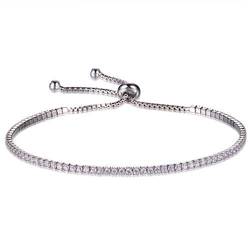 Rhodium Plated Sterling Silver Princess Tennis Bracelet CZ Bolo Bracelets 6 Inch Ajustable ()