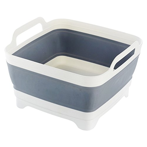 Space Saving Collapsible Sink Grey Silicone for Home Caravan Boat RV Camping by Ologymart