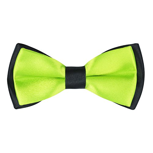 Boys Contrast Color Pre-tied Bow Ties (Lime Green) (Green Polyester Boys Ties)