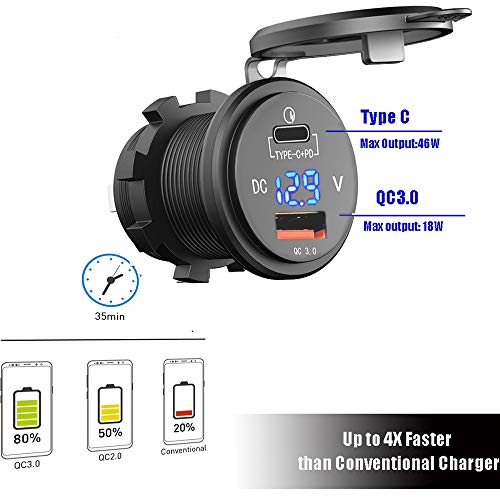 PD Type C USB Car Charger Socket 18W and QC 3.0 USB Quick Charge Socket 12V/24V Car Power Outlet Waterproof 64W Power Delivery 2.0 36W for Motorcycle Marine Boat RV ATV (Orange)