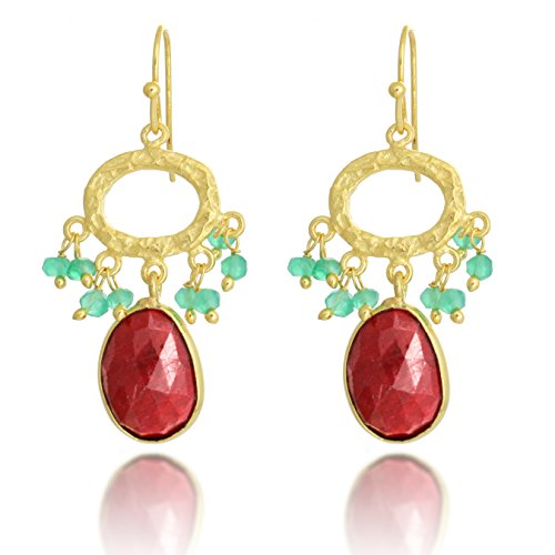 18K Gold-Plated Hammered Pear Shape Red Simulated Ruby Gemstone Dangle Earrings