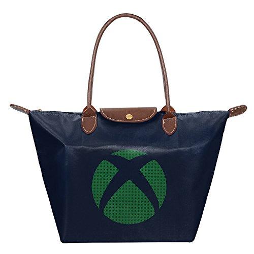 Women's Waterproof Nylon Foldable Large Tote Bag, XBOX Video Game Logo Shopping Shoulder Handbags Navy