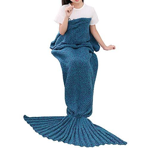 HUIFANG Mermaid Tail Blanket Otoño E Invierno Manta De Punto Sofá Manta Adultos Niños Manta Gruesa Saco De Dormir 140X70 /...