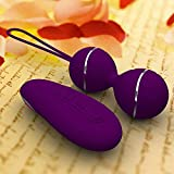 Remote Control Silicone Kegel Ball Vaginal Tight Exercise Vibrating Egg Geisha Ball Ben Wa Balls Dual Vibrator Sex Toy for Woman - Purple