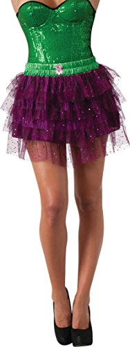 Secret Wishes  DC Comics Justice League Superhero Style Adult Skirt with Sequins The Joker, Purple, One Size]()