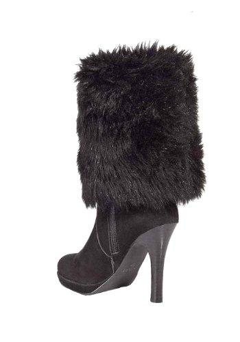 APART Damen-Schuhe Stiefel mit Fell Schwarz