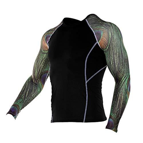 JJLIKER Mens Print Performance Long Sleeve Compression Shirts Cool Dry Baselayer Fitness Elastic T-Shirt Quick-Drying ()