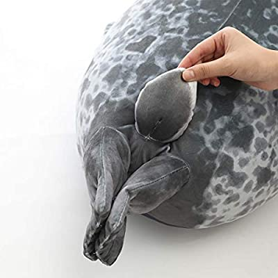 Boven Cute Blob Seal Pillow, Soft Chubby Hug Stuffed Cotton Animal Plush Pillow (White,M): Kitchen & Dining