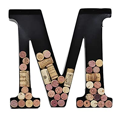 Wine Cork Holder by Made Easy Kit - Decorative Metal Monogram Letter for Corks - House Warming Wine Accessories Gift - 12-Inch x 10-Inch - Includes Screws and Drywall Anchor - Easy Installation