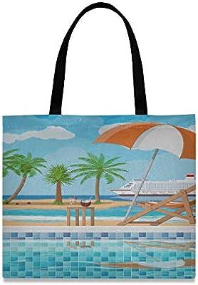 Bolsos de hombro de gran capacidad cuadrada Escalera de piscina Paraguas Tumbona de madera Bolsa de asas de compras para hombre 19.7 X 16.9in Impresión para niñas Damas Compras Trabajo diario: Amazon.es: