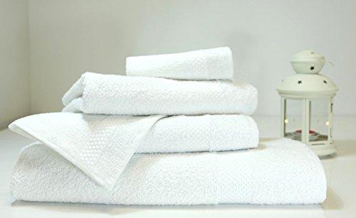 Lint Free 4 Piece Turkish Shower Bath Towel Set Clearance Prime Bathroom (Bulk Pack of 4) 450 GSM Quick Dry Off Premium Cotton - Spa Hotel Quality Luxury Reserve Designer 2018 Collection Bundle White