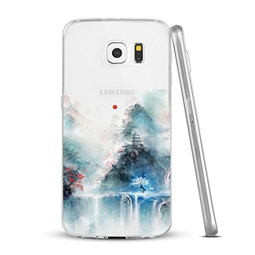 Caler Funda Galaxy S6 Edge Plus,Carcasa Samsung Galaxy S6 Edge Plus, Funda Ultra Delgado TPU Silicona Transparente Protectora Anti-Arañazos Animada Skin Case Cover Galaxy S6 Edge Plus Paisaje