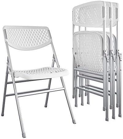 COSCO Ultra Comfort Commercial Resin Mesh Folding Chair, White, 4-pack