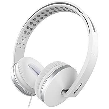 On Ear Headphones with Mic, Jelly Comb Foldable Corded Headphones Wired Headsets with Microphone, Volume Control for Cell Phone, Tablet, PC, Laptop, MP3/4, Video Game (white)