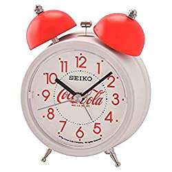 SEIKO 5 Coca Cola Quiet Sweep Alarm Clock with Snooze and Night Light, White