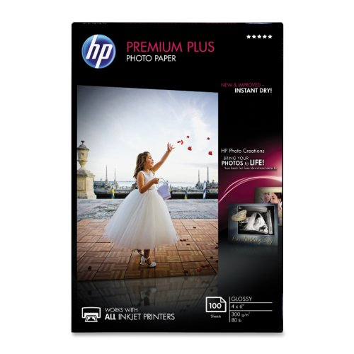 HP Premium Plus Photo Paper, Glossy, 4x6, 100 Sheets (CR668A)