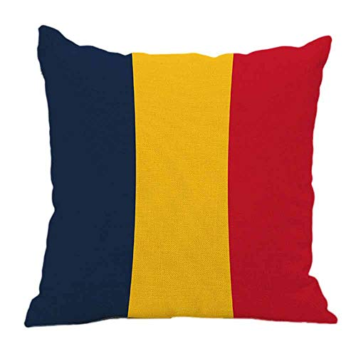 Littay Pillowcase 17inch x 17inch, National Flag Pillow Cases Linen Sofa Cushion Cover Home Decor