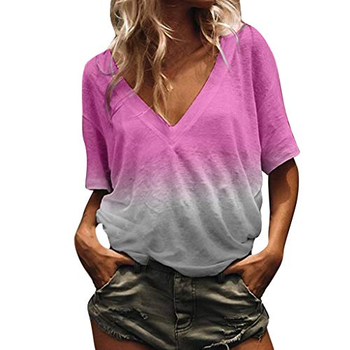 Womens Tie Dye Shirt, Casual V Neck Short Sleeve T Shirts Summer Loose Tee Blouses S-5XL Fashion Basic Tunic Tops