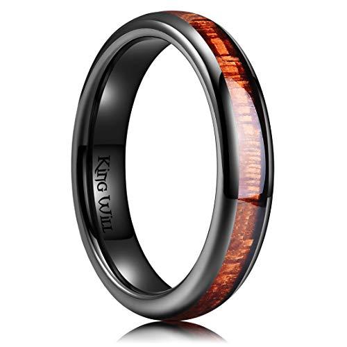 King Will Nature 4mm Black Domed Koa Wood Ceramic Ring Wedding Band Polished Finish Comfort Fit 6