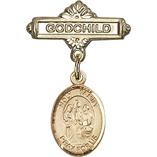 14kt Yellow Gold Baby Badge with Holy Family Charm and Godchild Badge Pin 1 X 5/8 inches by Unknown