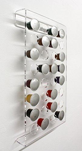 Diseño de soporte de pared para 32 cápsulas de café Nespresso. Soporte de plexiglás transparente para montaje en pared: Amazon.es: Bricolaje y herramientas