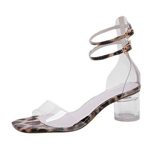 Oufenli Women High Heels Sandals Summer Sexy Square Toe Transparent Buckle Strap Party Thick Heel Shoes Yellow