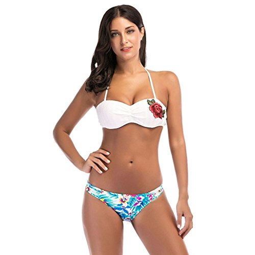 (Hot,Yang-Yi Fashion 2018 Women Bikini Set Embroidery Swimsuit Swimwear Beachwear Printing Bathing Suit (White, M))