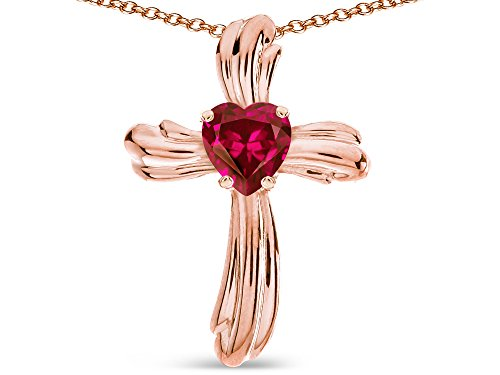 - Star K Heart Shape 6mm Created Ruby Ribbed Cross Of Love Pendant Necklace 14k Rose Gold