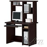 Computer Desk with Hutch Contemporary Style in Espresso Finish
