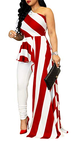 Aro Lora Women's Stripe Print One Shoulder Ruffle High Low Irregular Long Blouse Tops Shirt Dress Maxi Dress Large White Red
