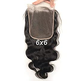 Luwigs 6×6 Lace Closure Human Virgin Hair Body Wave Pre Plucked Natural Hairline Natural Color Hair Piece with Baby Hair…