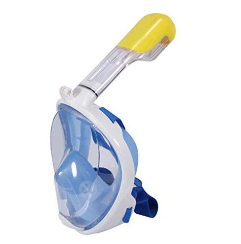 Vollgesichts Atmung Schnorchelmaske für Erwachsene und Jugendliche. Revolutionäre voll trockenen Tauchermaske mit Anti-Fog-und Anti-Leak-Technologie. Besser sehen mit 180 ° Betrachtungsfläche als herkömmliche Masken (blau, S/M)