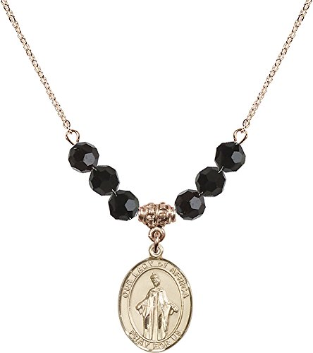 18-Inch Hamilton Gold Plated Necklace with 6mm Jet Birthstone Beads and Gold Filled Our Lady of Africa Charm. by F A Dumont