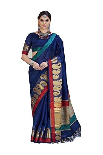 Da Facioun Indian Sarees For Women Wedding Designer Party Wear Traditional Tussar Silk Sari. Da Facioun Saris Indiens Pour Les Femmes Portent Partie Concepteur De Mariage Sari De Soie Traditionnelle Tussar. Blue 9 Bleu 9