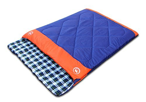 Famous Juggle 14℉~40℉~60℉ Double Sleeping Bag&unzipped into 2 individual sleeping bags(Dark Blue)